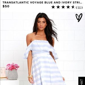 Transatlantic voyage blue and white striped dress
